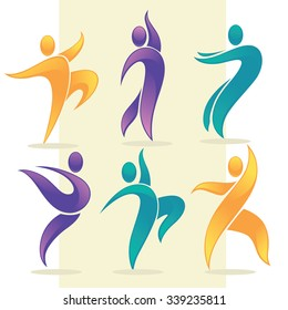 vector collection of abstract people in dancing poses, logo and emblem