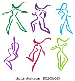 vector collection of abstract women in dancing and sportive poses for your logo