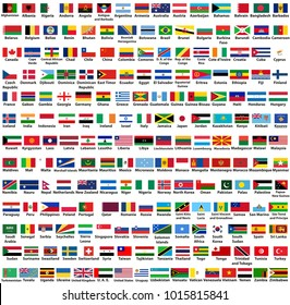 vector collection of all world countries (sovereign states) flags, arranged in alphabetical order