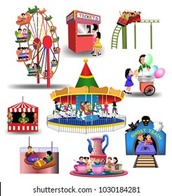 Vector collection of amusement park or fun fair icons and clip arts isolated on a white background