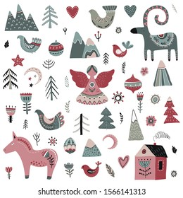 Vector collection of animals and winter elements in scandinavian style. Beautiful northern ornamental Christmas simbols