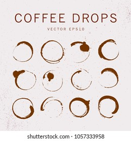 Vector collection of artistc round hand made coffee stains isoalted on textured background. Perfect for coffee shop packaging design, emblems, insignia, etc.