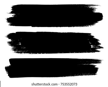Vector Collection Of Artistic Grungy Black Paint Hand Made Creative Brush  Stroke Set Isolated On White