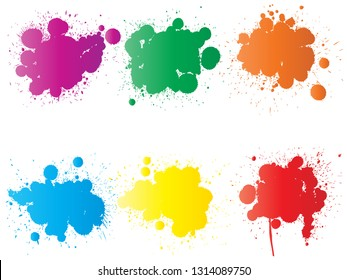 Vector collection of artistic grungy paint drop, hand made creative splash or splatter stroke set isolated white background. Abstract grunge dirty stains group, education or graphic art decoration