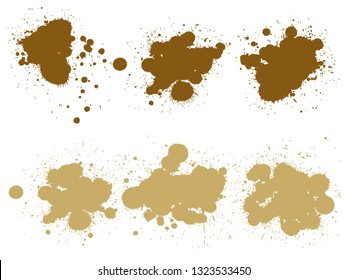 Vector collection of artistic grungy paint drop, hand made creative splash or splatter stroke set isolated white background. Abstract grunge dirty coffee stain group or graphic art vintage decoration