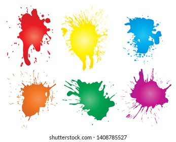 Vector collection of artistic grungy paint drop, hand made creative splash or splatter stroke set isolated white background. Abstract grunge dirty stains group, education or graphic art