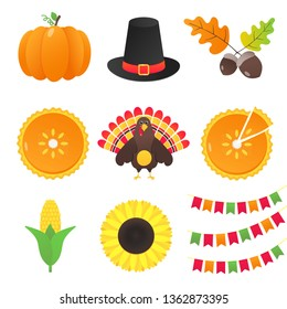 Vector collection of autumn elements and thanksgiving day things set flat style design gradient version isolated on white background. Pumpkin, pilgrim hat, acorn, pie, turkey, corn, flags, sunflower.