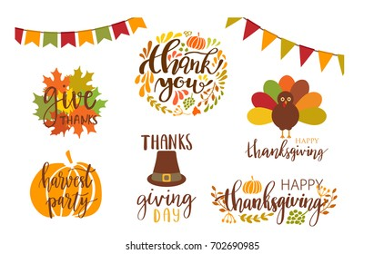Vector collection of autumn elements and typography lattering phrases. Thanksgiving day set
