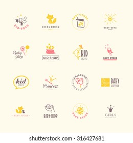 Vector collection of baby logo. Kid cute toy store insignia. Kids fashion label design. Children clothes brand. Baby and kid store insignia template. Baby care logo.