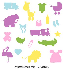Vector Collection of Baby Shower Silhouettes