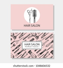 Vector collection with background and logotype for visit card, Hair salon. Hairdresser