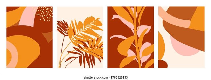 Vector collection of backgrounds in brown and yellow shades. Floral and abstract illustrations. For cards, posters, stationery, as template, backdrop.