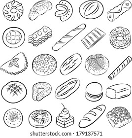 Vector collection of bakery and pastry food in line art