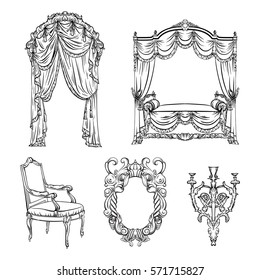 Vector collection of baroque furniture made in hand drawn style. Ink sketch. Design of chair, mirror, chandelier, bed, curtain. Unique template for business card, poster, banner, label.