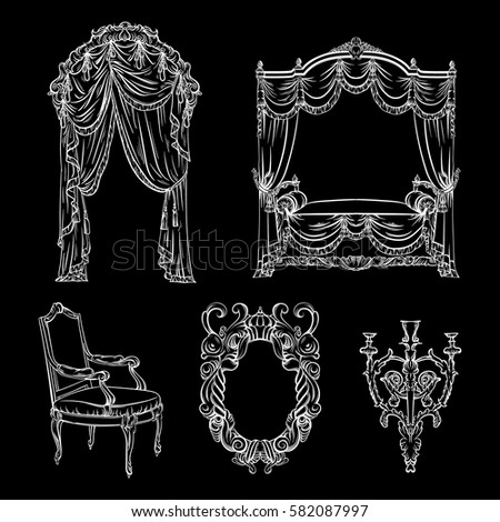 Vector Collection Baroque Furniture Made Hand Stock Vektorgrafik