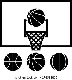 vector collection of basketball net, backboard set and basketball balls