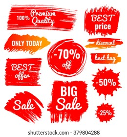vector collection of big sale, discount, best price, best buy banner, premium quality, set of hand drawn isolated labels in grunge style