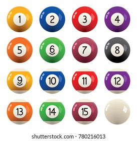 vector collection of billiard pool or snooker balls with numbers isolated on white background, eps10 illustration