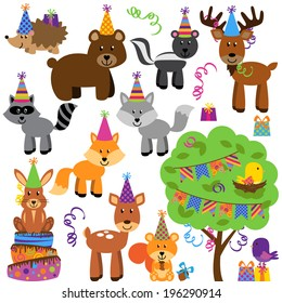 Vector Collection of Birthday Party Themed Forest or Woodland Animals