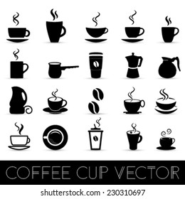 vector collection of black coffee cups (mugs) on a white background