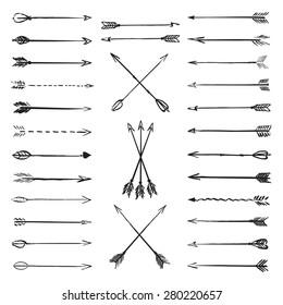 Vector collection black hand-drawn arrows