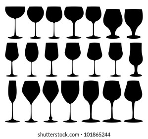 Vector collection of black wine glasses silhouettes