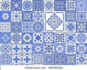 Vector collection of blue and white tiles in Oriental style. Seamless patchwork pattern for printing on ceramic tiles, fabrics, paper, packaging, wallpaper. Decorative texture for background design