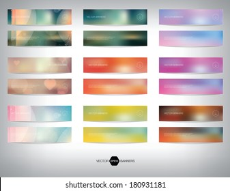 Vector collection of blurred unfocused photographic banners. Bokeh backgrounds