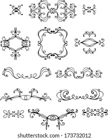 Vector collection borders, ornaments and elements of decoration