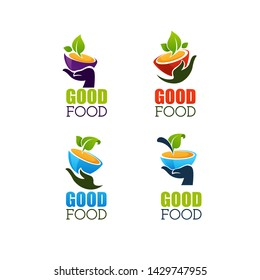vector collection of bowls full of hot, home made soup and human hand, vector logo, symbol, emblem