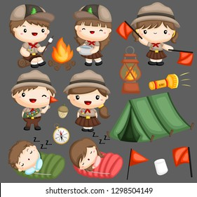 a vector collection of boy and girl scouts
