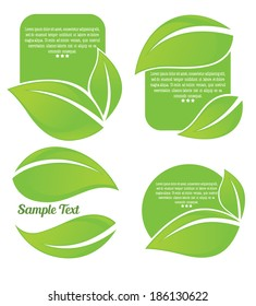 vector collection of bright green leaf frames and stickers