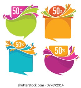 vector collection of bright sale tags, banners and stickers