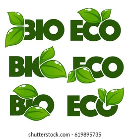 vector collection of bright and shine leaf signs, symbols eco and bio organic slogans