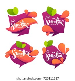 vector collection of bright and shine  stickers, emblems and banners for smoothie and juice