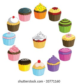 Vector - A collection of brightly colored cupcakes. Each cupcake is on a separate layer. Use individually or mix and match to create your own groups!