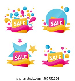 Vector collection of brigt discount tags, sale banners