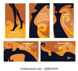 vector collection of business cards for beauty salon, hairdressers and solarium