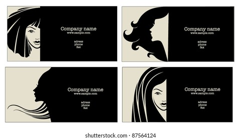vector collection of business cards for beauty salon