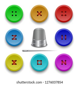 Vector collection of buttons for clothes, art and crafts. Steel thimble and needle for sewing. Fashion and needlework. Buttons with threads.