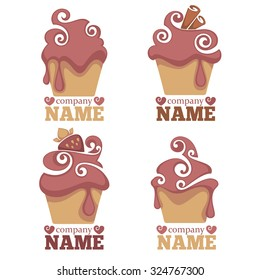 Vector collection of cakes images, symbols, logo and emblems