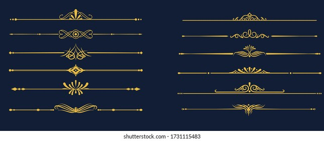 Vector collection of calligraphic, elegant dividers and page ornaments. Set of text delimiters vector illustration.