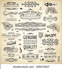 vector collection: calligraphic vintage design elements set and page decorations, classical ornaments | Premium Quality, Genuine and Satisfaction, Guaranteed Labels with engraving flowers and leafs