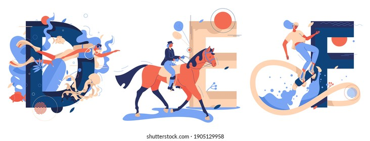 Vector collection with capital letters D for diving,  D for equestrian and F for flyboarding sport. Women riding horse, swims underwater, flies under the sea drawn in blue and orange