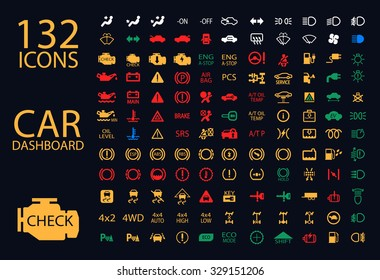 vector collection of car dashboard panel indicators, yellow red green blue indicators