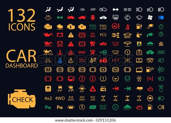 Vektorgrafik von Anzeigetafeln für das Cockpit, gelb-grüne blaue Symbole für Motor, Benzin, Airbag, Klimaanlage, Tachometer, Ölstand und andere bunte Autowartungszeichen.