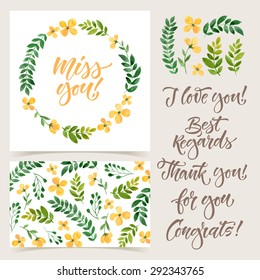 Vector collection of cards template.  Watercolor elements and patterns, calligraphic phrase. Spring or summer design for invitation, wedding or greeting cards