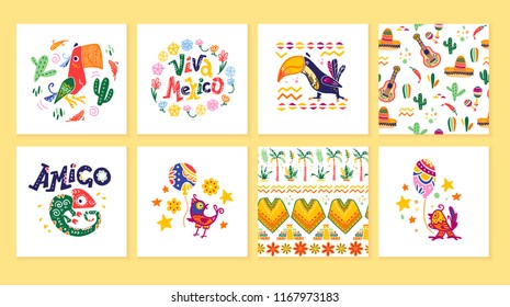 Vector collection of cards with traditional decoration for Mexico party, carnival, celebration, fiesta event in flat hand drawn style. Animals, floral elements, petals, cacti, lettering, patterns.
