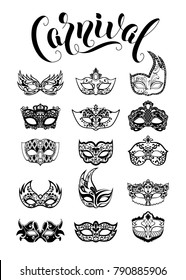 Vector collection of carnival masquerade masks isolated on white background