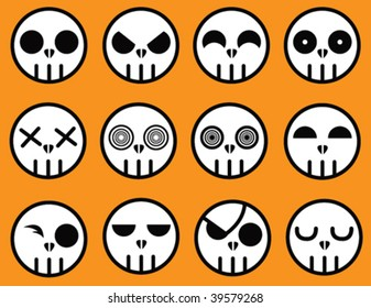 Vector - A collection of cartoon skulls. Each skull is on a separate sublayer and can easily be used or manipulated individually.